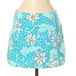 Lilly Pulitzer Blue Cat Floral Print Skirt